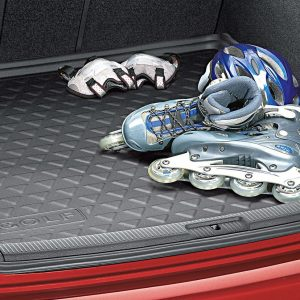 Коврик в багажник Volkswagen Golf 5 / 5 GT / 6 / 6 GTI, с надписью, для автомобилей с базовым полом багажника