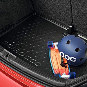 Коврик в багажник Volkswagen Scirocco, с надписью, для автомобилей с базовым полом багажника