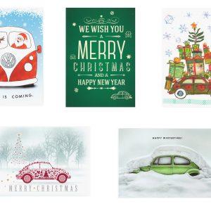 Набор новогодних почтовых открыток Volkswagen