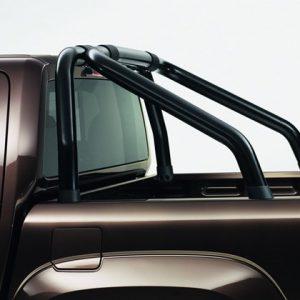 Декоративная дуга в виде двойной трубы Volkswagen Amarok (2H), черные матовые