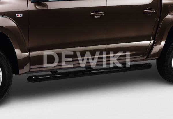 Подножка со ступеньками Volkswagen Amarok, черные матовые