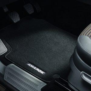 Коврики в салон Volkswagen Amarok (2H) с 2010 года, текстильные передние и задние, черные