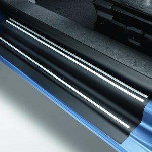 Защитная пленка на пороги Volkswagen Caddy, черные с серебристыми полосами