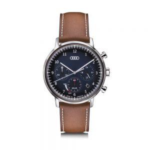 Мужские наручные часы хронограф Audi Solar, Blue/Brown