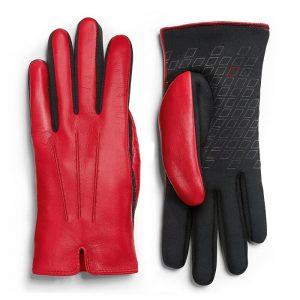 Женские кожаные перчатки Audi Sport, Red/Black