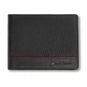Мужской кожаный кошелек Audi Sport, Black / Red
