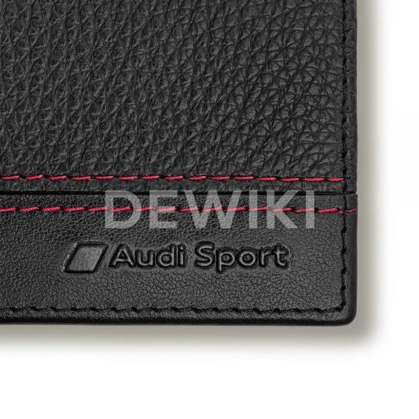 Мужской кожаный мини-кошелек Audi Sport, Black / Red