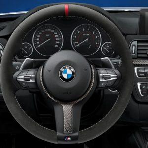 Спортивное рулевое колесо BMW M Performance II 1,2,3 и 4 серия, Aлькантара с карбоновой вставкой