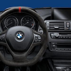 Спортивное рулевое колесо BMW M Performance 1,2, 3 и 4 серия, алькантара с карбоновой вставкой