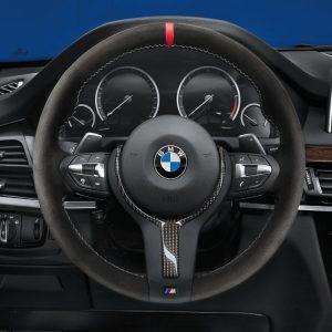Спортивное рулевое колесо BMW M Performance II F15/F16 X5 и X6, Aлькантара с карбоновой вставкой
