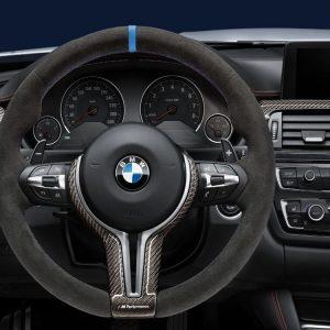 Спортивное рулевое колесо BMW M Performance X5 M и X6 M, алькантара с карбоновой вставкой