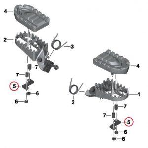 Кронштейн для резиновой вставки подножек эндуро BMW F 650 / 700 / 800 GS / Adventure / G 650 2007-2018 год