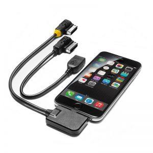 Комплект переходных проводов для интерфейса музыкальным интерфейсом Audi, для устройств Apple с разъемом Lightning и USB, желтая втулка