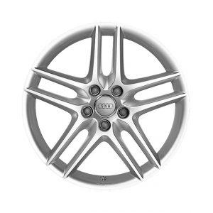 Алюминиевый литой диск R19 дизайн 5 двойных спиц Audi, Brilliant Silver, 8,5J x 19 ET48