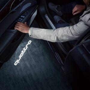 Светодиодная подсветка порогов, надпись quattro Audi LED, широкий разъем