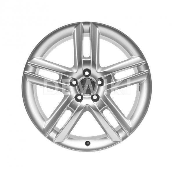Алюминиевый литой диск R19 5 двойных спиц Audi, Brilliant Silver, 8,5J x 19 ET45