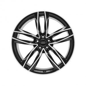 Алюминиевый литой диск R21 дизайн 5 двойных спиц Audi, Royal Black, 9,5J x 21 ET 25