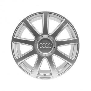 Алюминиевый литой диск R21 в 9-спицевом дизайне Audi, Brilliant Silver, 9,0J x 21 ET60