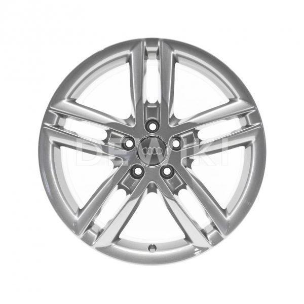Алюминиевый литой диск R19 5 двойных спиц Audi, Brilliant Silver, 8,5J x 19 ET28