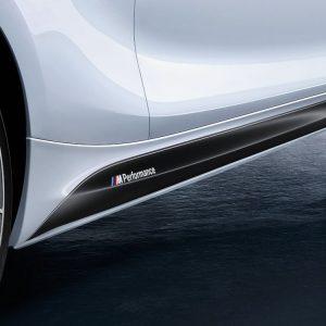 Боковые облицовки порогов слева BMW M Performance черного матового цвета F20 1 серия