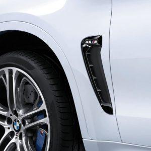 Декоративная накладка на левое крыло BMW M Performance черного глянцевого цвета F86 X6 M