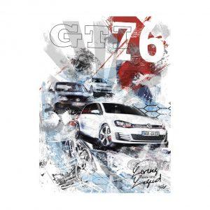Художественная печать Постер, посвящённый 40-летию GTI, поколения I-VII
