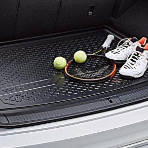 Коврик в багажник Volkswagen Tiguan (5N) с 2016 года, с надписью, для автомобилей с базовым полом багажника