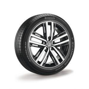Летнее колесо в сборе VW Tiguan в дизайне Auckland,  235/50 R 19 99V, Dark Graphit, 7.0J x 19 ET43