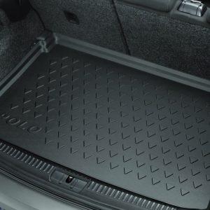 Коврик в багажник Volkswagen Polo 5, с надписью,  для автомобилей с высоким полом багажника