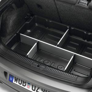 Поддон в багажник Volkswagen Polo 5, с разделителями, с надписью