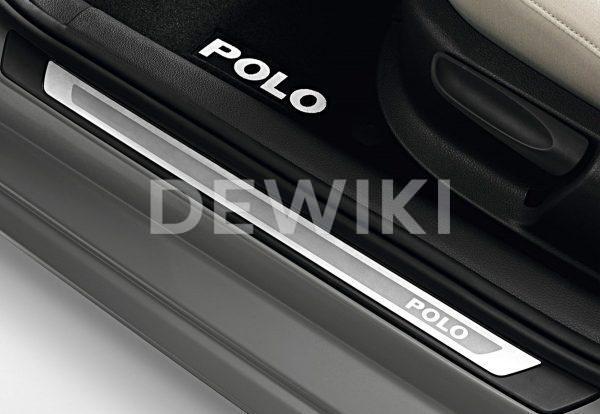 Накладки на пороги Volkswagen Polo 5, 2-дверных с надписью Polo