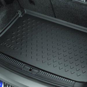 Коврик в багажник Volkswagen Polo Sedan, резиновый, с надписью