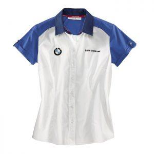 Женская рубашка с коротким рукавом BMW Motorrad Logo, White/Blue