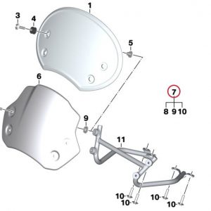 Детали для крепления ветрового щитка BMW R nineT