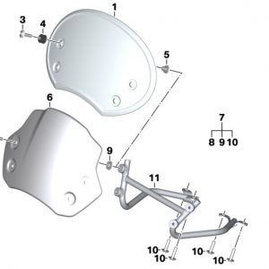 Детали крепления ветрового щитка Scrambler BMW R nineT