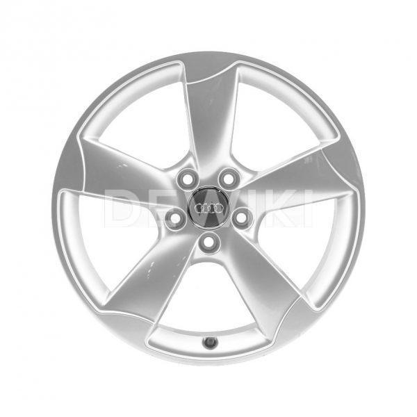 Алюминиевый литой диск R19 роторный дизайн 5 спиц Audi, Silver, 9,0J x 19 ET52