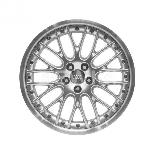 Алюминиевый литой диск R19 в 20-спицевом дизайне Audi, Silver / Polished, 9,0J x 19 ET52