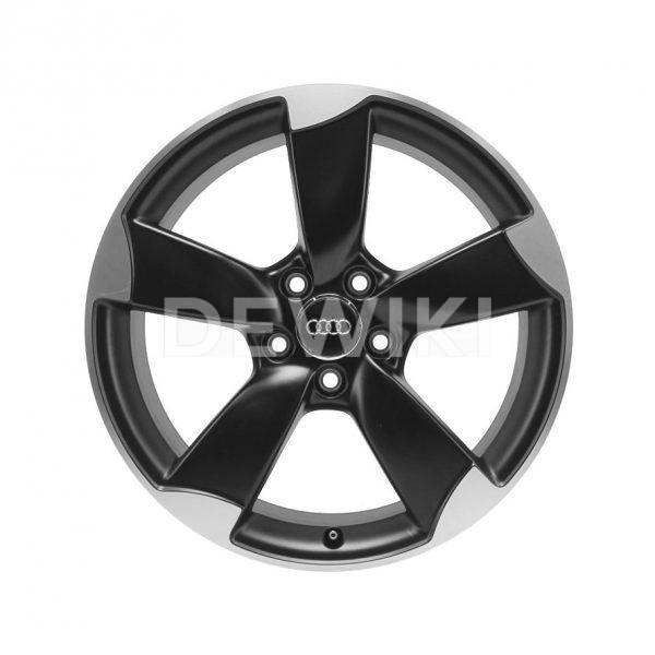 Алюминиевый литой диск R19 роторный дизайн 5 спиц Audi, Matt Black, 9,0J x 19 ET52