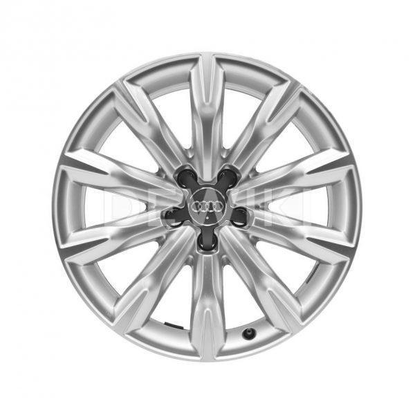 Алюминиевый литой диск R18 в 10-спицевом дизайне Audi, Brilliant Silver, 8,0J x 18 ET26