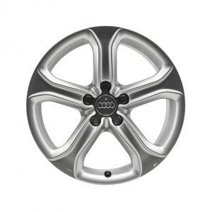 Алюминиевый литой диск R17 5-спицевом дизайне Audi, Brilliant Silver, 7,5J x 17 ET45