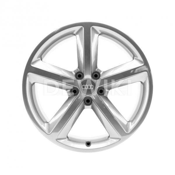 Алюминиевый литой диск R18 в 5-спицевом дизайне Audi, Brilliant Silver, 8,0J x 18 ET47