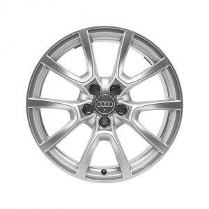 Алюминиевый литой диск R18 дизайн 5 V-образных спиц Audi, Silver, 8,0J x 18 ET39