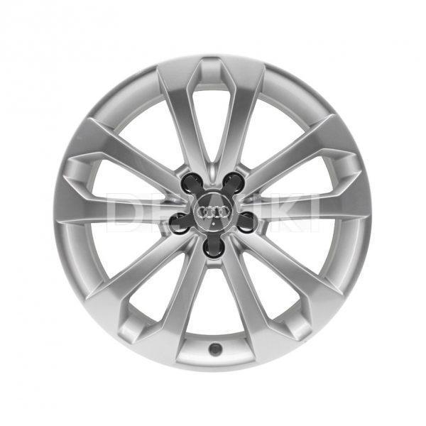 Алюминиевый литой диск R18 дизайн 5 V-образных спиц Audi, Brilliant Silver, 8J x 18 ET39