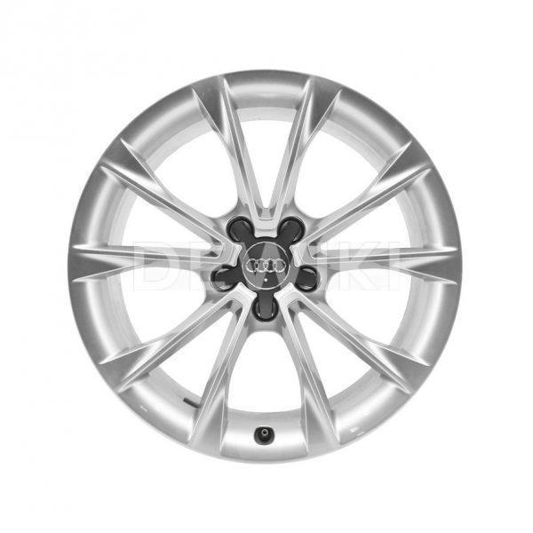 Алюминиевый литой диск R18 дизайн 5 V-образных спиц Audi, Bright Silver, 8,5J x 18 ET29