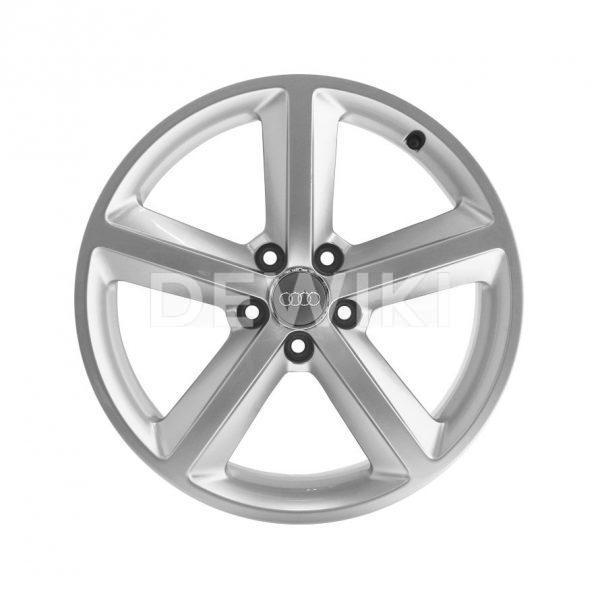Алюминиевый литой диск R18 дизайн 5 широких спиц Audi, Brilliant Silver,  8,5J x 18 ET29