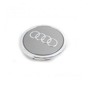 Колпачок ступицы колеса Audi, серый металлик с хромированным кольцом