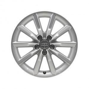 Алюминиевый литой диск R17 в 10-спицевом дизайне Audi, Brilliant Silver, 7,0J x 17 ET43