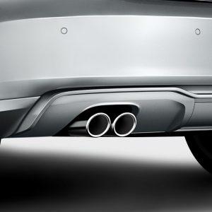 Спортивные насадки на выхлопную трубу Audi A3 (8V), для автомобилей с левой двойной выхлопной трубой, серебристо-хромированные