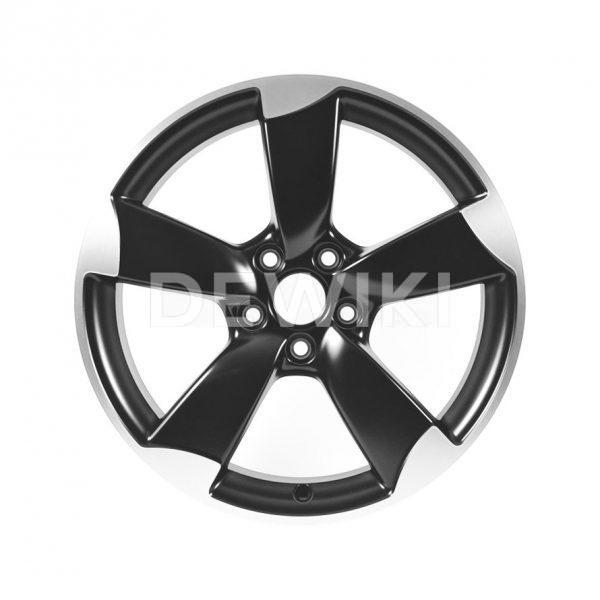 Алюминиевый литой диск R18 роторный дизайн 5 спиц Audi, Matt Black, 8,0J x 18 ET46