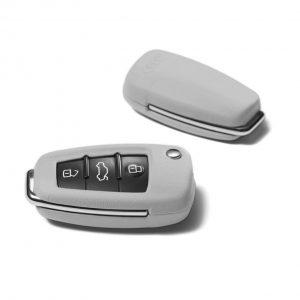 Кожаный футляр для ключа Audi, Pearl silver